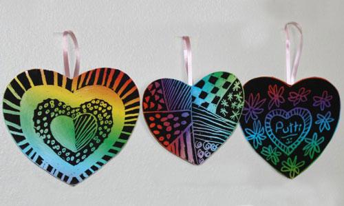 valentine scratch hearts
