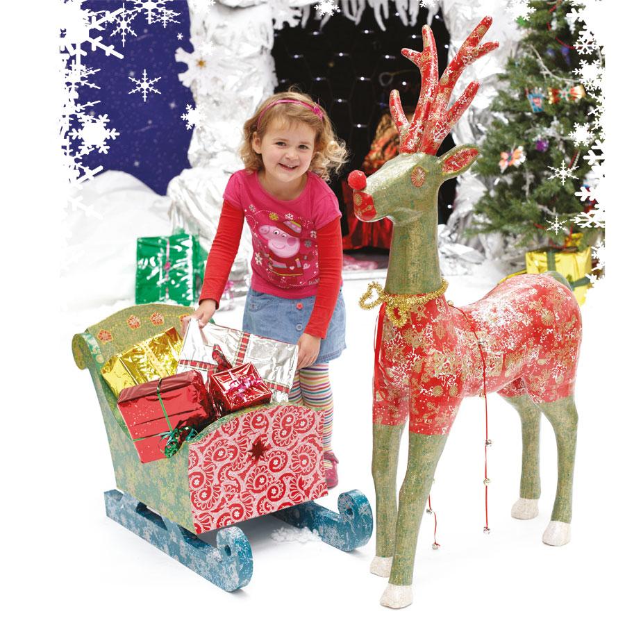 Christmas themed Sleigh and Reindeer