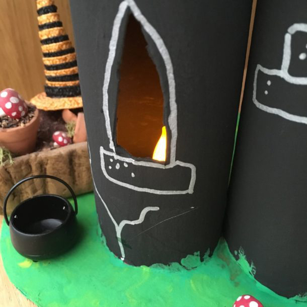Halloween Castle made from toilet roll tubes