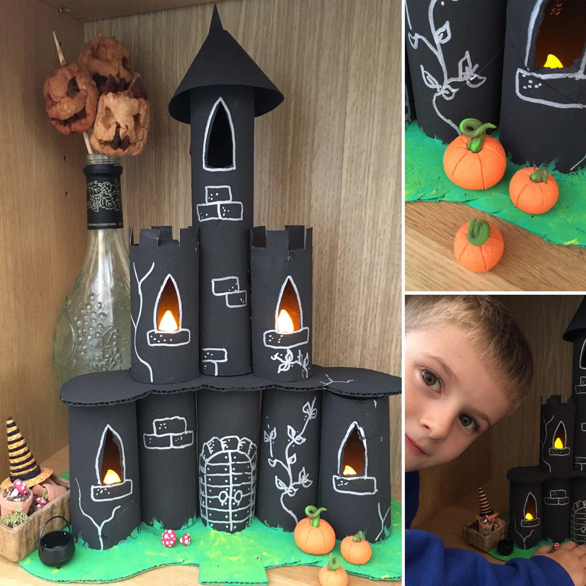 Halloween Castle made from toilet roll tubes by Lottie Makes