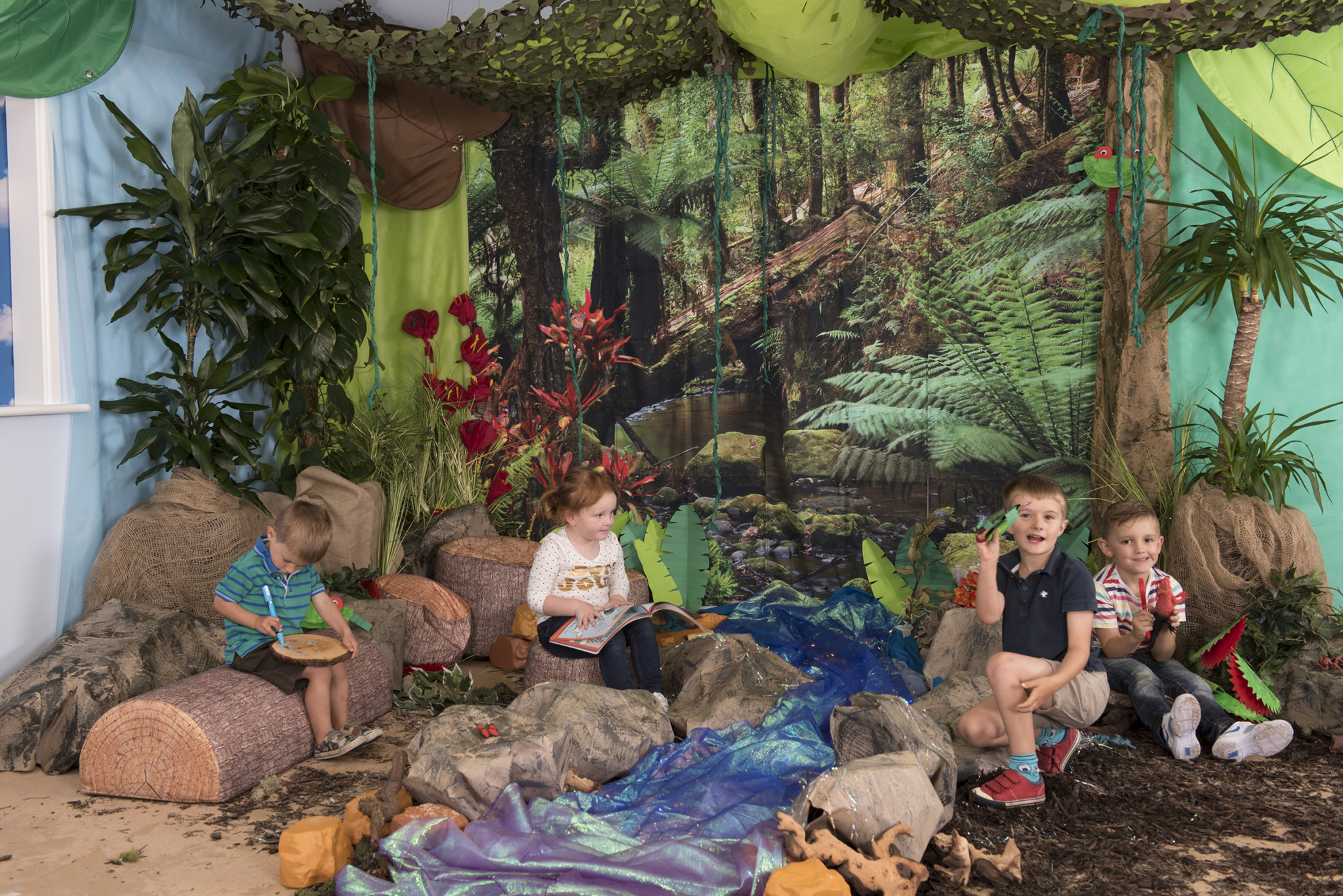 Rainforest backdrop immersive environment