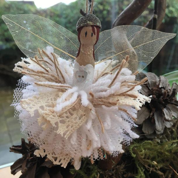pom pom peg doll christmas fairy by Lottie Makes