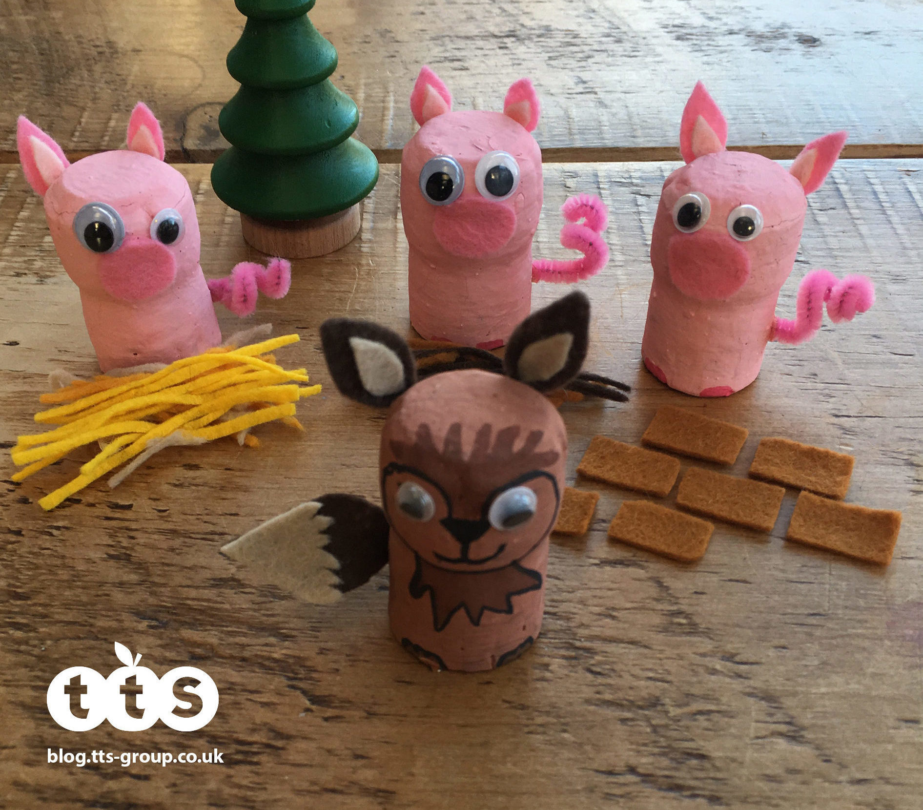 3 little pigs cork characters by Lottie Makes