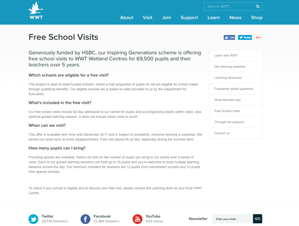 Wildfowl and Wetlands Trust free school visits
