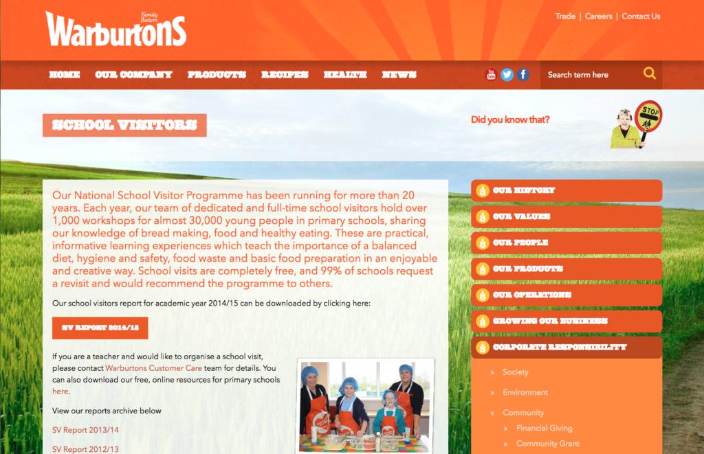 warburtons free school visits