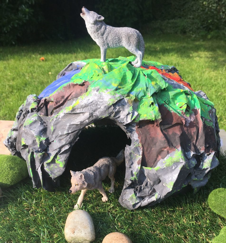 Papier mache minecraft or bear cave for small world play by Lottie Makes