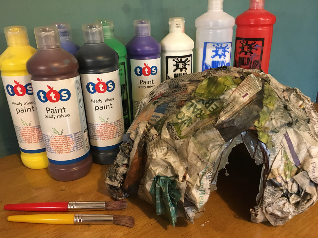 Papier mache minecraft or bear cave for small world play