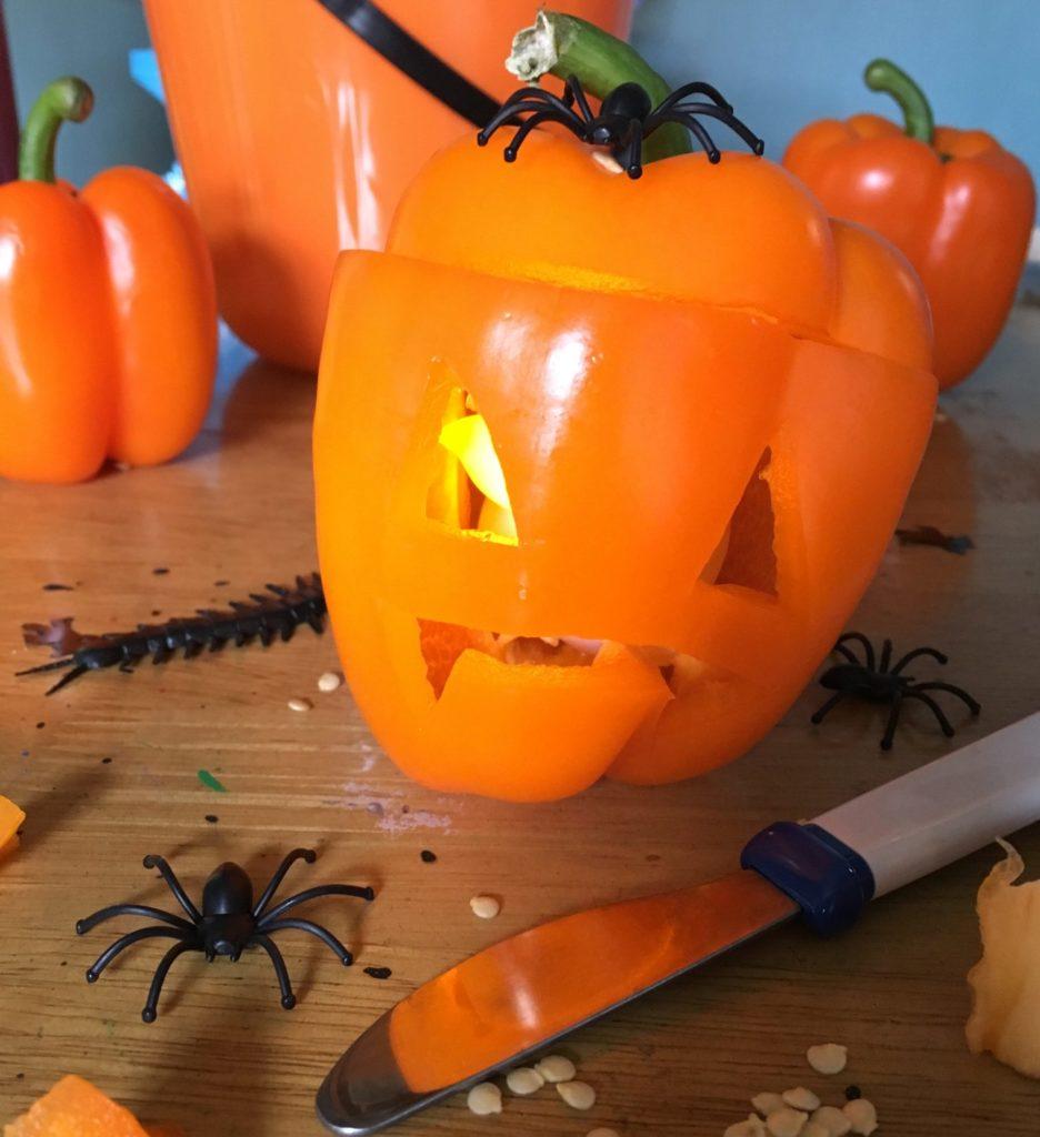 orange pepper carving by Lottie Makes