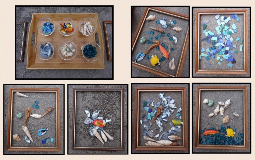 1. Transient art with empty frames and ocean inspired loose parts - from Stimulating Learning with Rachel