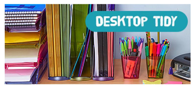 desktop tidy - back to school