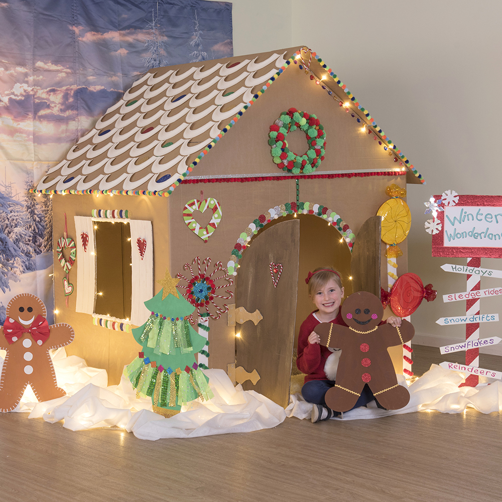 How to create a christmas themed gingerbread house display