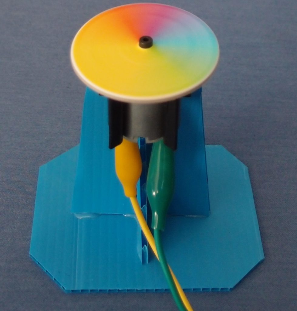 Make a coloured spinner - class STEM project - using the Crumble Controller above