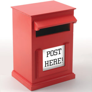 Red post box for role play.