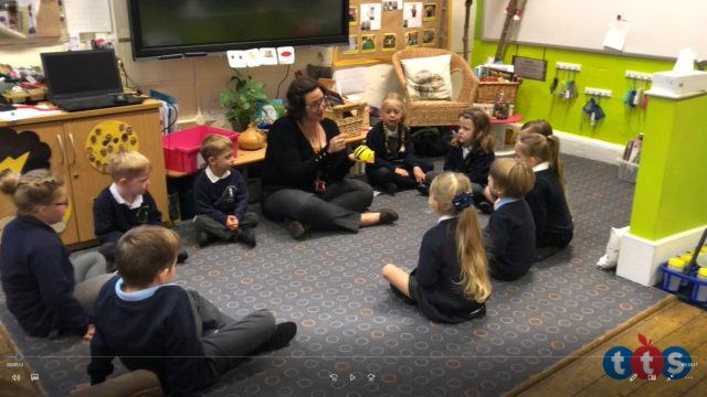 Year 1 class discuss what they remember about Bee Bots.