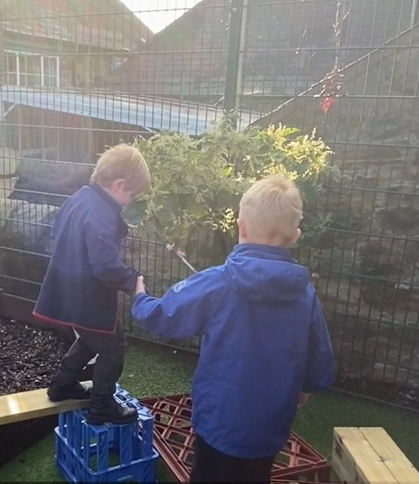Year one pupil helps a reception pupil on the balance trail.