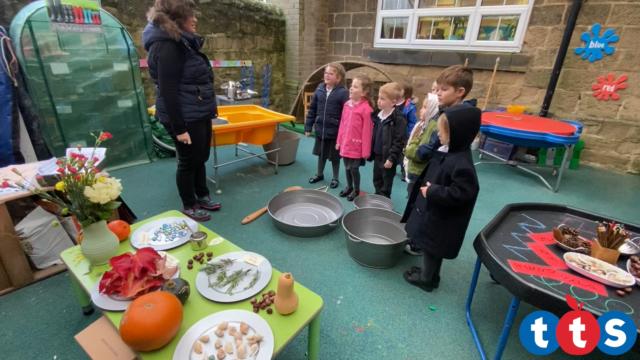 Children listen to their teacher.