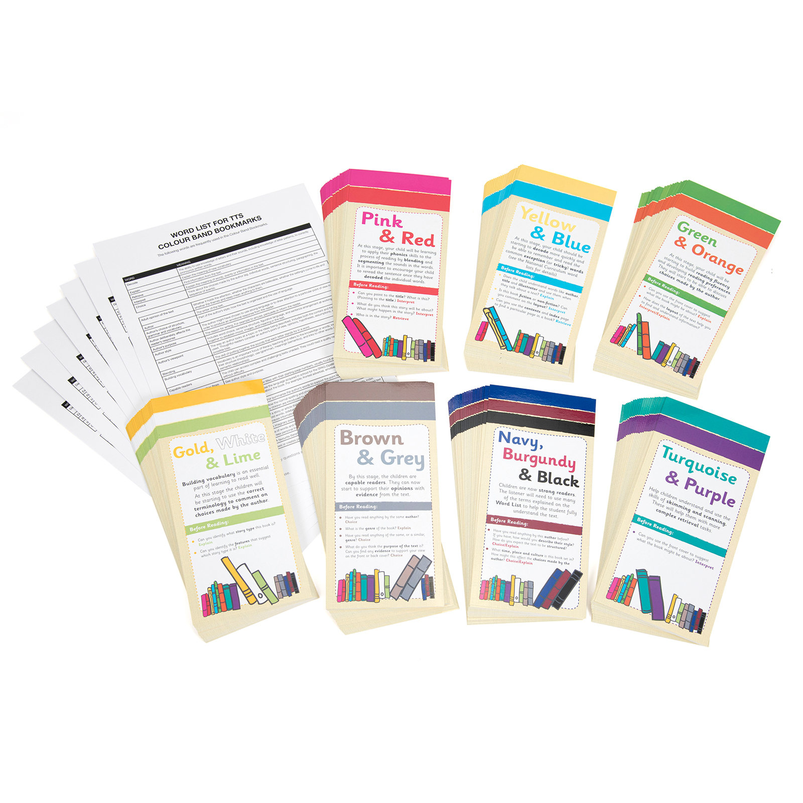 Colour Band Comprehension Bookmarks
